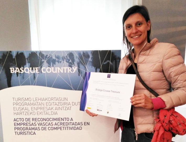 Bodega Crusoe Treasure diploma competitividad turística
